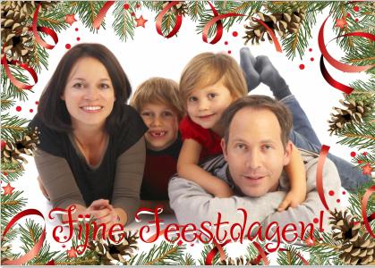 Voorbeeld kerstkaart met gezinsfoto