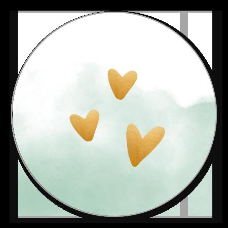 Waterverf met hartjes
