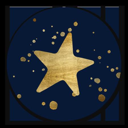 Gouden ster en spetters
