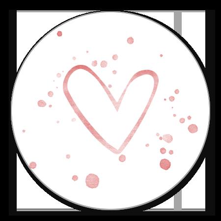 Open roze hartje en spetters