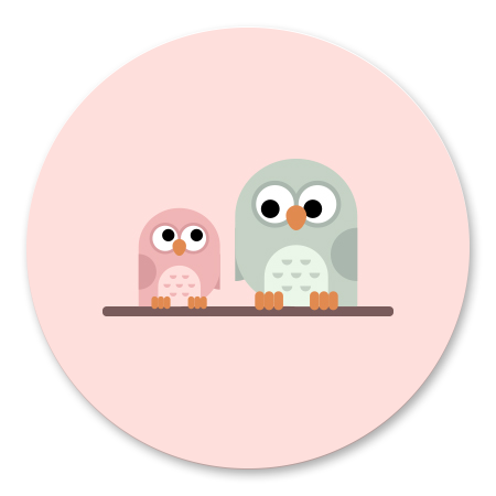 Roze uiltje met broer/zus
