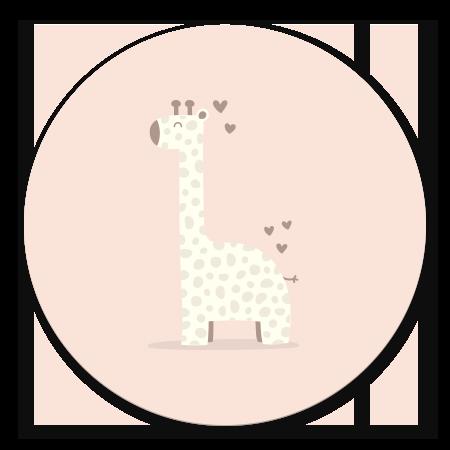 Giraffe met hartjes roze