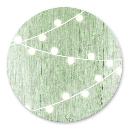 Hout met lampjes groen