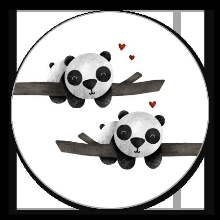Tweeling panda's met takjes