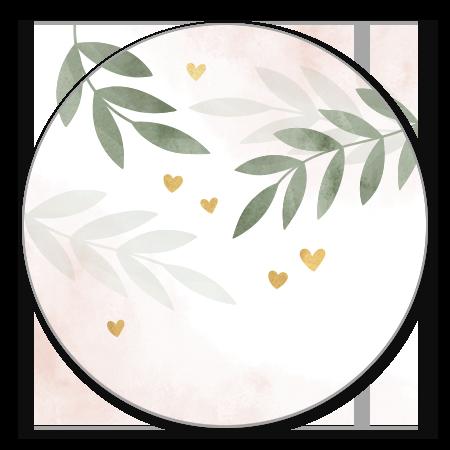 Waterverf roze takjes gouden hartjes