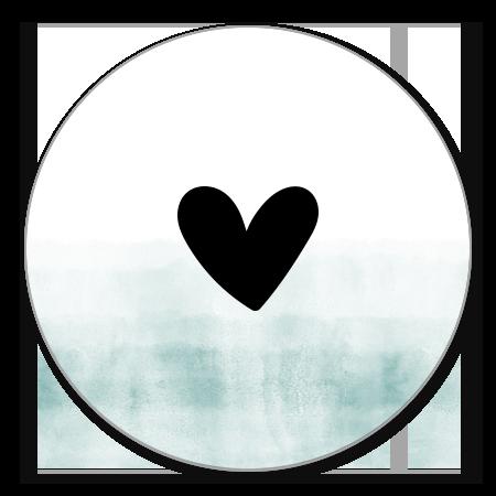 Waterverf blauwgroen met zwart hartje