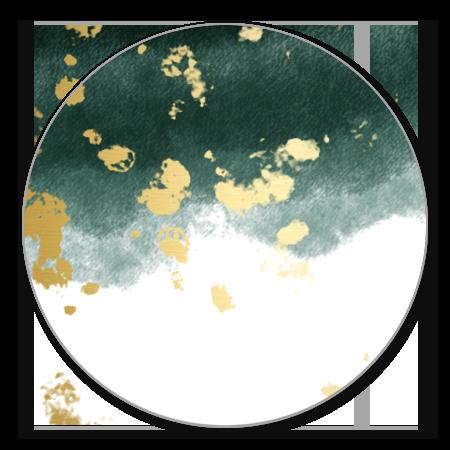 Waterverf donkergroen gouden spetters