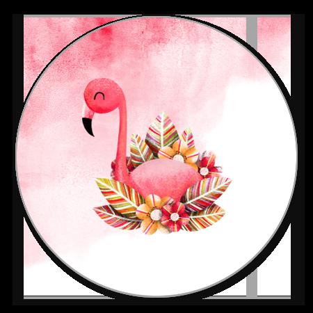 Flamingo met roze waterverf