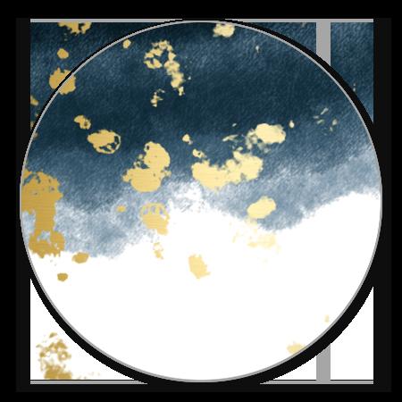 Waterverf donkerblauw gouden spetters