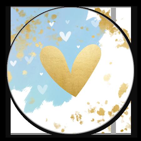 Blauwe waterverf streep gouden hartje