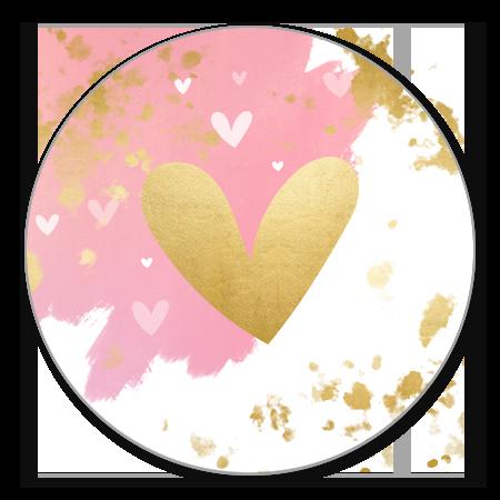 Roze waterverf streep gouden hartje