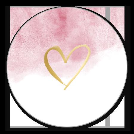 Goudlook hartje met roze waterverf