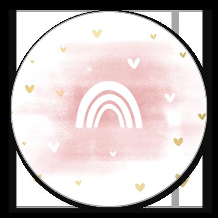 Regenboog silhouet met roze waterverf en hartjes