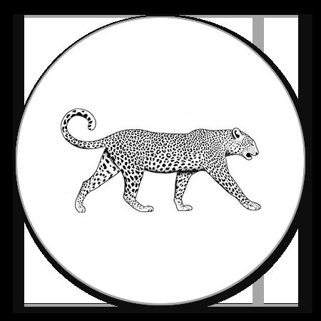 Leopard zwart/wit