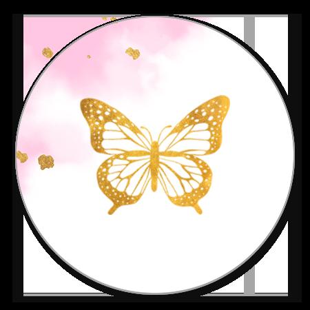Vlinder goud met felroze waterverf