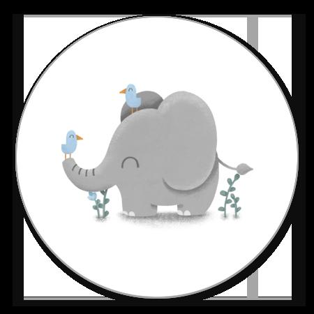 Lieve olifant met blauwe vogeltjes