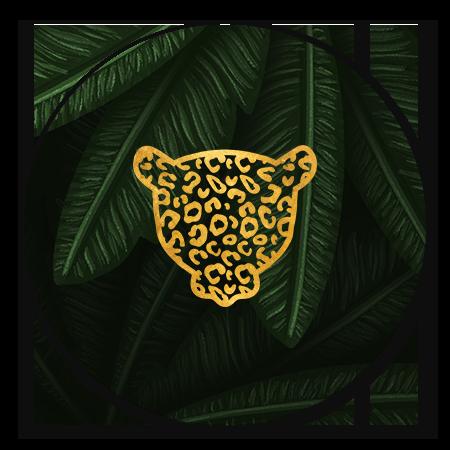 Jungle bladeren met gouden panter silhouet