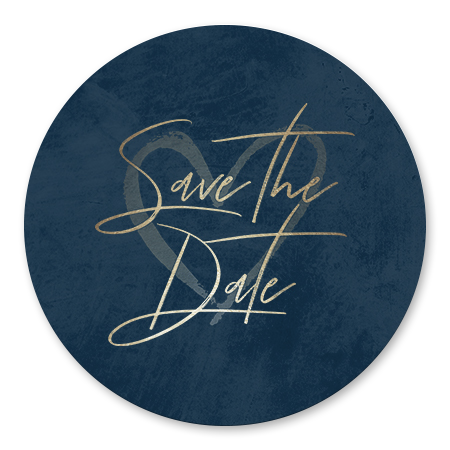 Goudlook 'Save the Date' met donkerblauwe achtergrond