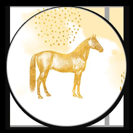 Gouden paard met waterverf