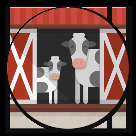 Boerderij schuur met koeien