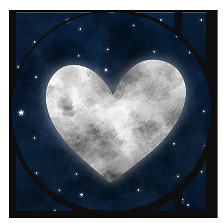 Maan in hartvorm en heelal