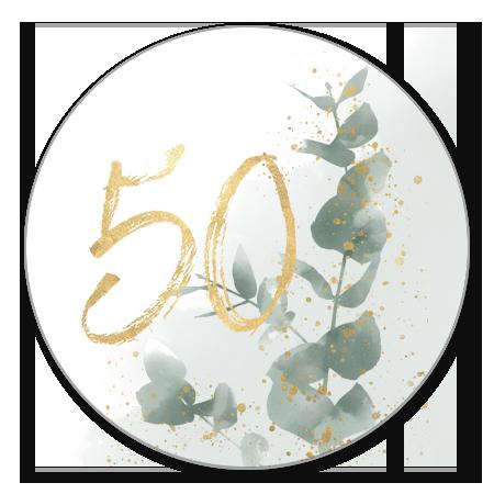 Waterverf takje met gouden 50