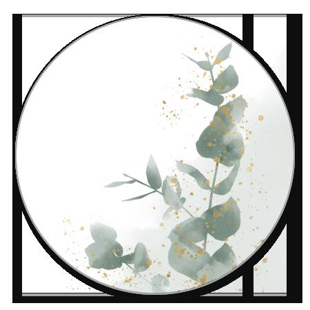 Eucalyptus met goud en waterverf