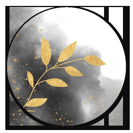 Trouwen waterverf en gouden plantje