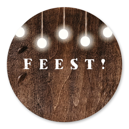 Feest met lampjes hout