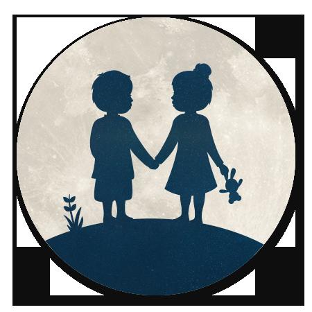 Maan silhouet tweeling Jongen Meisje