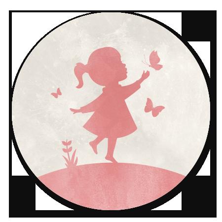 Silhouet meisje met vlinders - met maan