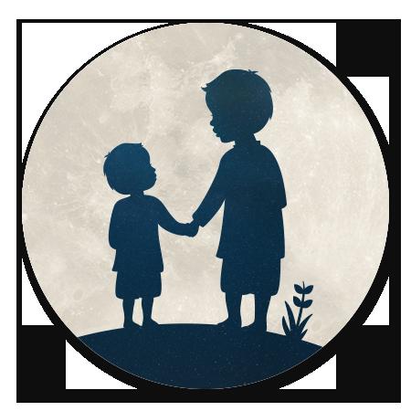 Silhouet broertjes hand in hand - met maan