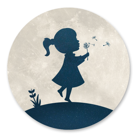 Silhouet meisje met paardenbloem - met maan