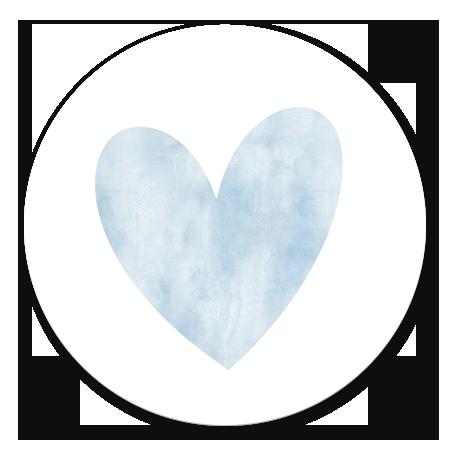 Waterverf hart groot - blauw