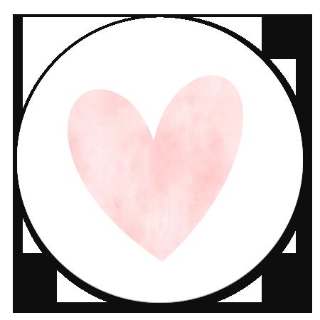 Waterverf hart groot - roze