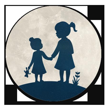 Silhouet zusjes hand in hand - met maan