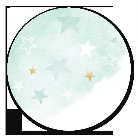 Waterverf Groen - met gouden sterren