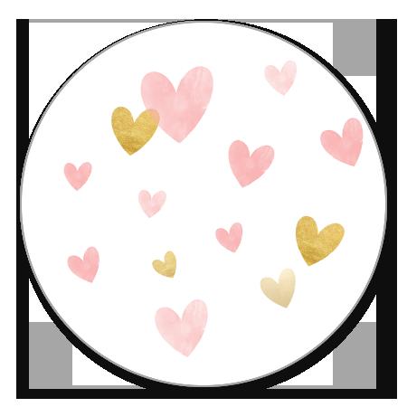Waterverf Hartjes - Roze en goud