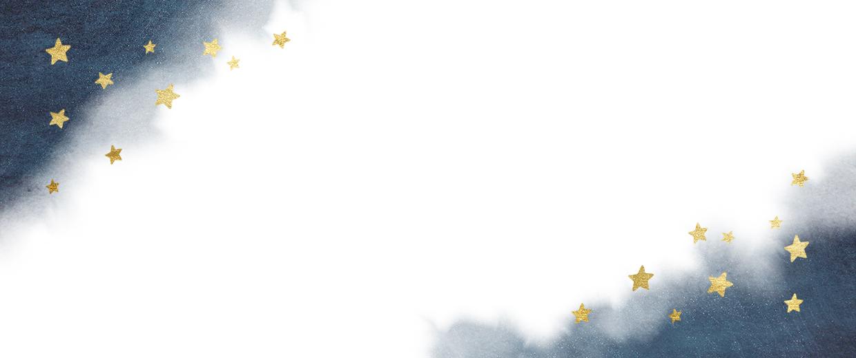 Blauwe waterverf met gouden sterren