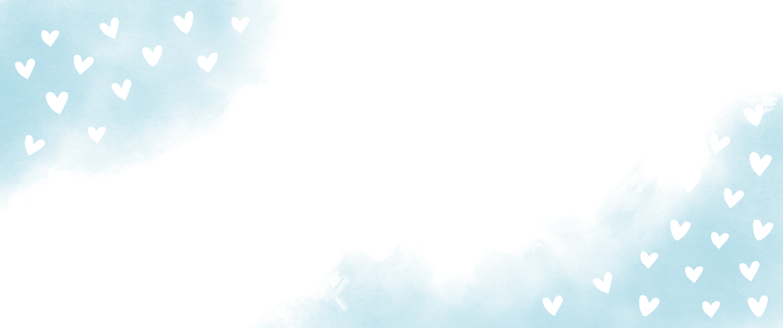 Blauwe waterverf met hartjes